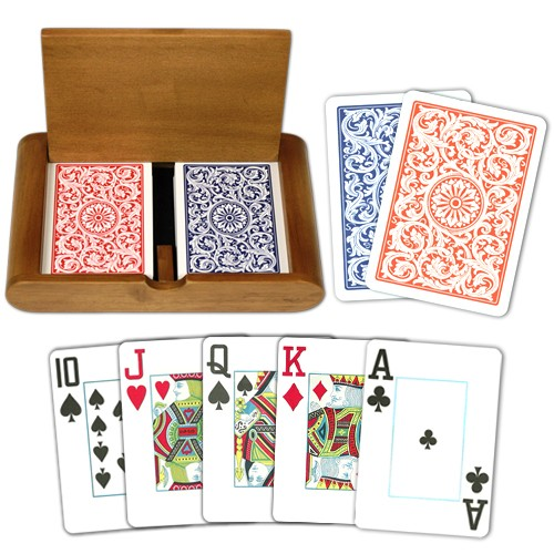 Copag 1546 RB Poker Size Jumbo Index Wooden Box