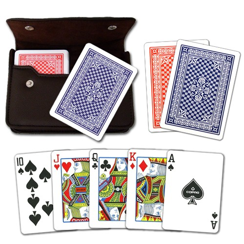 Copag Pinochle RB Poker Size Regular Index Leather Case