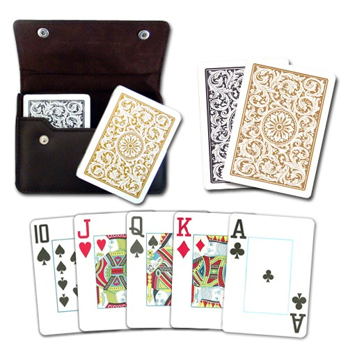 Copag 1546 BG Poker Size Jumbo Index Leather Case