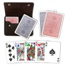 Copag RB Poker Size Four Color Regular Index Double Deck in Leather Case